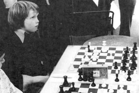 Nigel Short playing in a simultaneous exhibition (against Smyslov) in 1976